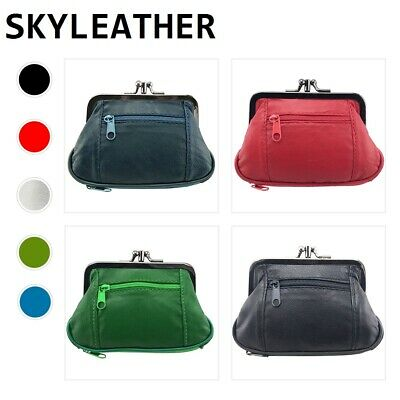 Genuine Leather Women Coin Purse Card Holder Wallet Frame Clasp Change Purse
