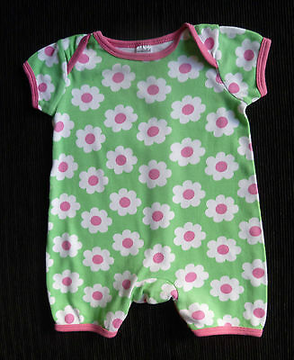 Baby clothes GIRL 0-3m cute green/white/pink daisy short sleeve romper SEE SHOP!