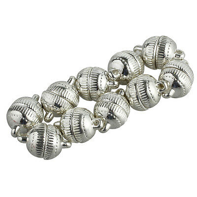 10pcs Silver Plated Strong Magnetic Clasps Round 10mm for Bracelets Jewelry PK