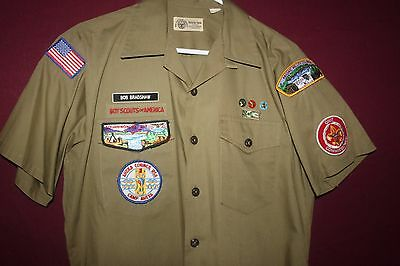 """Vintage Boy Scouts Of America Shirt (Med) w/Patches & Pins """"Unit Commissioner"""""""