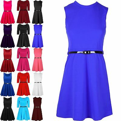 Girls Skater Dress Flared Kids Party Dresses Belted Age 7 8 9 10 11 12 13 Year
