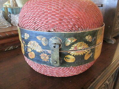 Hand-painted Antique Large Asian Chinese Basket