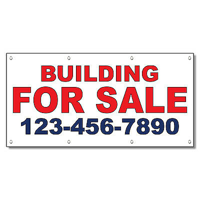 Building For Sale Phone Custom Red Blue Custom Vinyl Banner Sign With Grommets