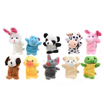 10pcs Funny Kids Adults Velvet Animal Style Finger Puppets Set Learning Toy WS