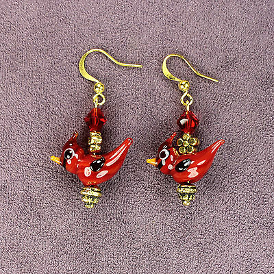 3D CRESTED CARDINAL EARRINGS Red Bird Totem Attraction Passion Flowers Gold Bead