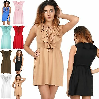 New Womens Ladies 70'S Front Tie Lace Up Eyelet Detail Frill Flared Skater Dress