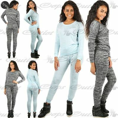 Womens Ladies Diamante Studded Silver Top Jogging Bottoms Full Tracksuit Set