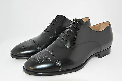 Man-8½Eu-9½Us-Oxford Captoe-Black Calf-Vitello Nero-Leather Sole