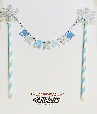 FROZEN WINTER WONDERLAND THEME 1st BIRTHDAY CAKE TOPPER MINI BUNTING BLUE SILVER
