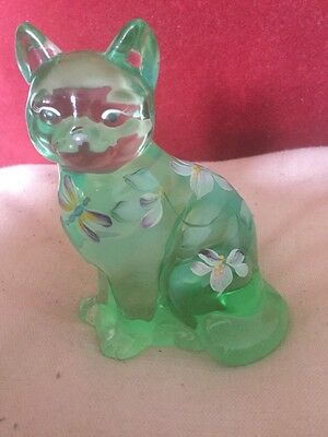Fenton United States Hand Painted Green Blue Glass Cat Signed S Massey