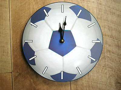 Boys/Kids/Childrens Bedroom Wooden Blue and Grey Football Wall Or Desk Clock