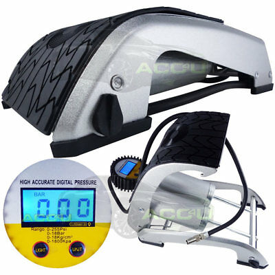 New Car Bike Heavy Duty Hi Pressure Illuminated Digital Double Barrel Foot Pump