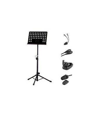 Metal Music Stand, Tripod Stand Holder and Clip 2 Arm 4 LED Book Reading Music