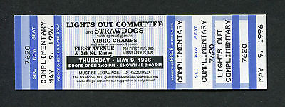1996 Lights Out Committee Strawdogs Concert Ticket Minneapolis First Avenue