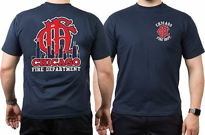 T-Shirt navy, Chicago Fire Dept.-Skyline mit altem Emblem