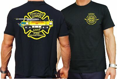 T-Shirt black, Chicago Fire Dept. O'Hare Int'l Airport, mehrfarbig