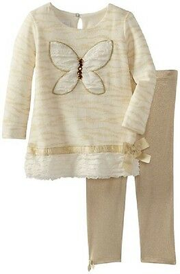 Bonnie Baby Baby-Girls Infant Appliqued Sweater and Leggings, Gold 3/6m new