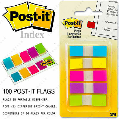 100 Post-it Flags Portable Dispenser Sticker Memo Sticky Bookmark Pack Index Tab
