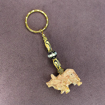 3D WATER BUFFALO TOTEM SOAPSTONE KEY CHAIN Ring Bison Amulet Talisman Ox Bull