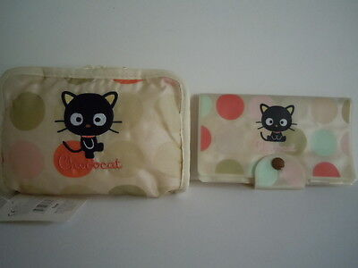 Rare Set Of 2 Vintage Sanrio 2002 Chococat Muti-Purpose Bag ,pouch & Check Book