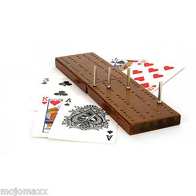 Classic Wooden Cribbage Board Playing Cards Set Pegs Family Travel Game Ty4412