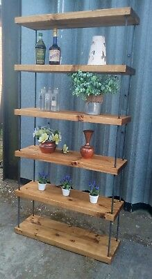 Stunning Rustic Pine Industrial Hairpin Steel Bookcase Shop Display Shelving