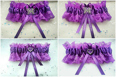 Personalised Purple Lace Butterfly/heart Wedding Bridal Bridesmaid Gift Garter