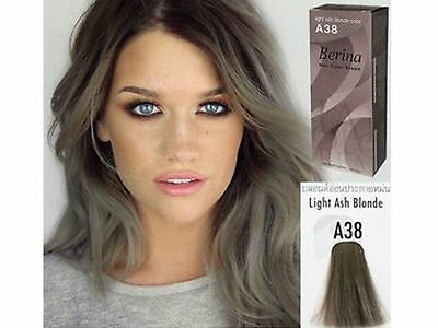Berina Permanent A38 Color New Hair Dye Cream Light Grey Silver Free Shipping..