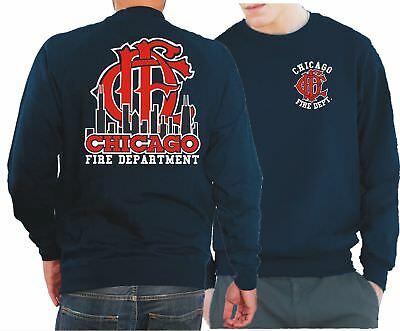 Sweatshirt navy, Chicago Fire Dept.-Skyline mit altem Emblem CFD