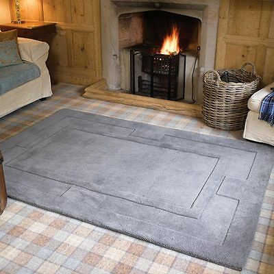 Grey Wool Floor Rug Modern LARGE small large soft Thick BNEW Indian