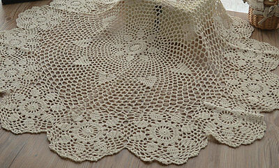 "36"" Round Hand Crochet Ecru Doily Floral Table Cloth Topper Runner"