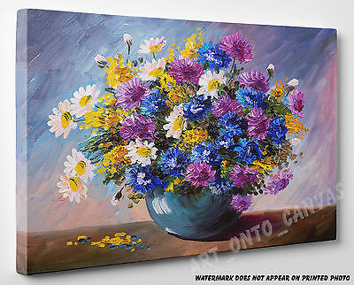 X LARGE CANVAS Oil Painting Stunning Bouquet of Wildflowers Wall Art A1 A2 A3