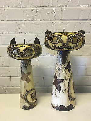 Vintage Modern Pair Unusual Large Mixed Media Cat Candle Holders Prickets