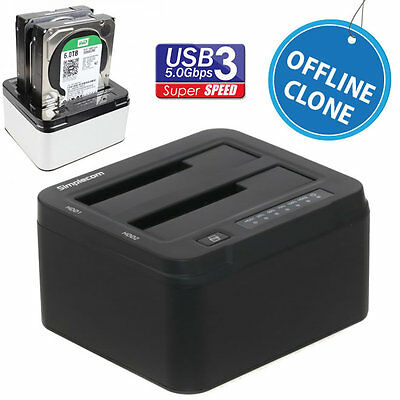 "Dual HDD SSD Docking Station Off-line Clone 2.5""/3.5"" USB3.0 Duplicator SD322BK"