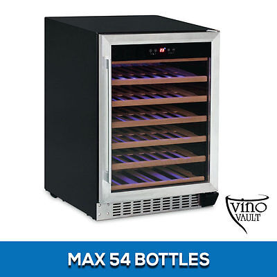VinoVault 54 Bottle Under Bench Silver Stainless Steel Wine Fridge Cooler Cellar