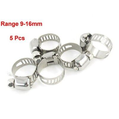 Silver Tone Metallic 9mm to 16mm Pipes Hose Clamps Clips 5 pcs WS