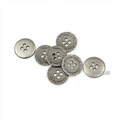 12PCS Antique Silver Round Metal 4 Holes Shirt Buttons For Sewing Crafts