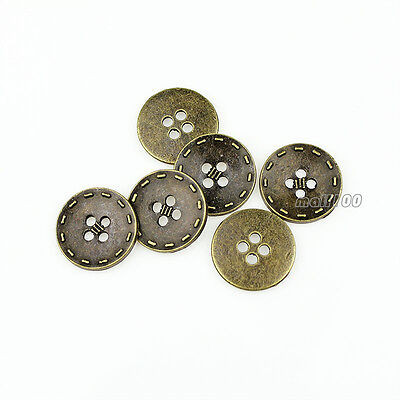 12PCS Antique Bronze Round Metal 4Holes Shirt Buttons 15 20 mm For Sewing Crafts