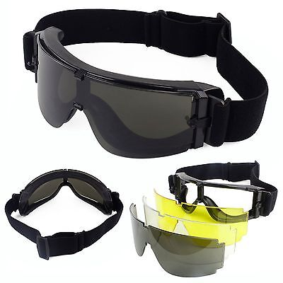 3 Lens UV-400 Protection USMC Tactical Airsoft Shooting Safety Glasses Goggles