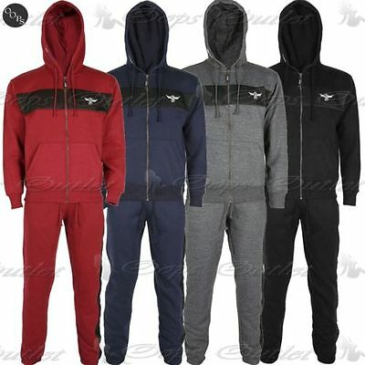 Mens DLX Project Front Zip Up Hooded Tracksuit Fleece Top Jogging Bottom