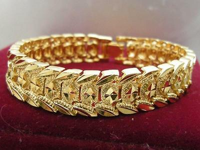 Elegant 14K 9K Yellow Gold Diamond cut Band solid womens mens bracelet 18.5cm