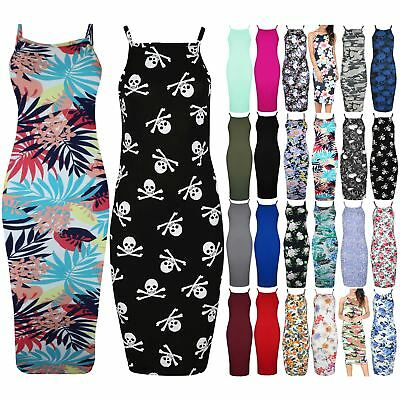 Womens Ladies Floral High Neck Summer Cami Strappy Bodycon Midi Dress Plus Size