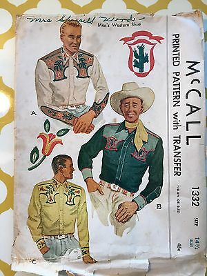 RARE 1947 McCalls Sewing Pattern 1332 Mens Western Country Shirt w/Transfers