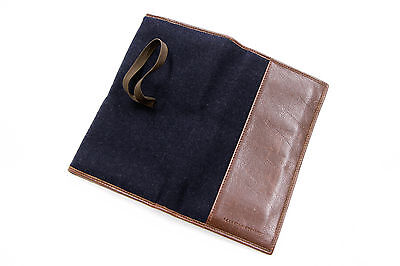 .NWT $675 Brunello Cucinelli 100% Leather Logo Engraved Blue+Brown 2-Tone Wallet