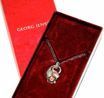 Georg Jensen Sterling Silver Tulip Necklace 1999 with Rose Quartz
