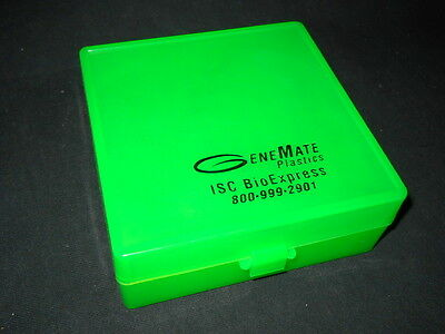 ISC BioExpress GeneMate 100-Well Square Green Plastic Storage Case w/ Hinge