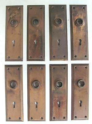 8 Antique High Quality Solid Brass YALE Backplates c. 1910 Art and Crafts