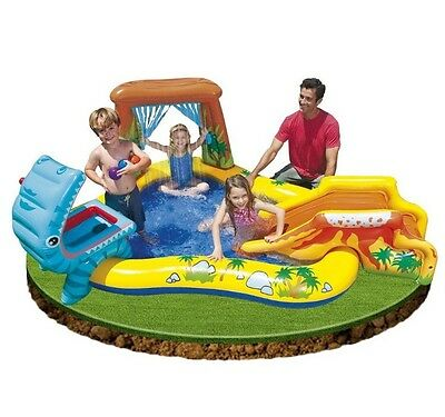 Intex Dinosaur Play Centre Inflatable Kids Paddling Pool With Slide & Waterfall