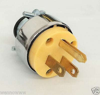 Male Extension Cord Replacement Electrical Plugs 15AMP 125V 3 Prong