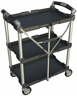 Multi-Purpose Collapsible Utility Cart 3-Shelf Rolling Black Storage Trolley NEW